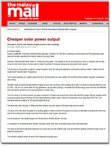 Malay Mail News Report - Cheaper Solar Power Output